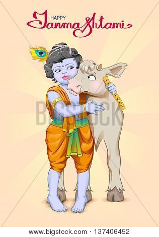 Krishna Janmashtami lettering text for greeting card. God is the shepherd hugs cow. Birthday Krishna. Illustration in vector format