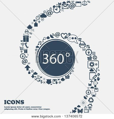 Angle 360 Degrees Sign Icon. Geometry Math Symbol. Full Rotation In The Center. Around The Many Beau