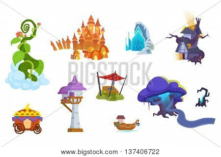 Creative Illustration and Innovative Art: Fairy Tale Objects Illustrations isolated on White Background. Realistic Fantastic Cartoon Style Artwork Scene, Wallpaper, Story Background, Card Design