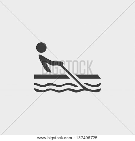 Rowing icon in a flat design in black color. Vector illustration eps10