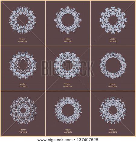 Set of nine blue color oriental flower mandala on dark background. Stylish geometric pattern. Ethnic vintage pattern. Indian asian arabic islamic ottoman motif. Vector illustration.