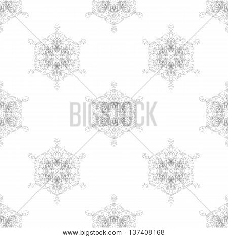 Seamless Pattern. Set of Rosettes Isolated on White Background