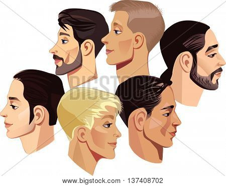 faces of men in profile