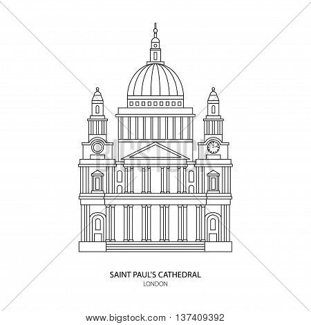 St. Paul's Cathedral London landmark vector Illustration. Outline design element for tourism banner flayer website background