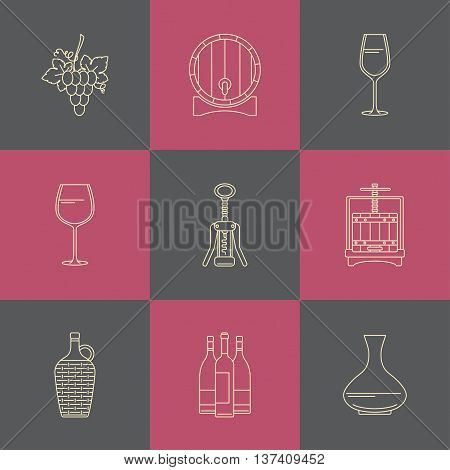 Winemaking icons on colorful square. Collection of line style design element.