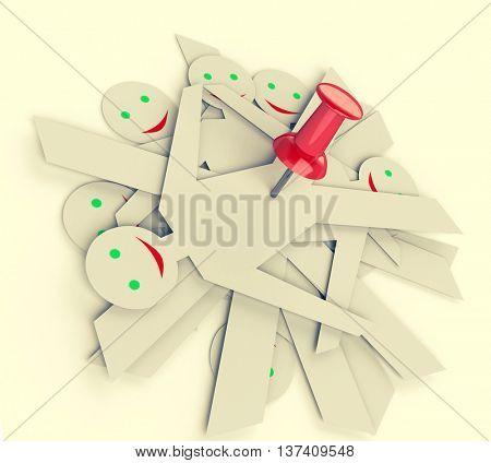 dummy team on pin. 3D illustration. Toned image