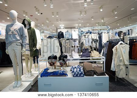 CHICAGO, IL - MARCH 24, 2016: inside of H&M store. H & M Hennes & Mauritz AB is a Swedish multinational retail-clothing company, known for its fast-fashion clothing.