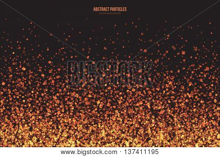 Abstract bright golden shimmer glowing square particles vector background. Burning sparks. Scatter shine tinsel light explosion effect. Celebration holidays and party illustration
