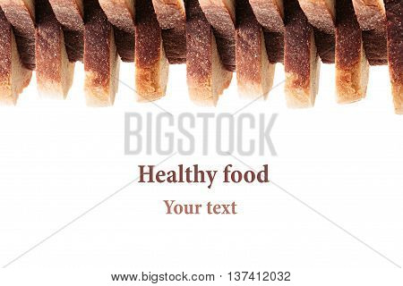 Pile of slices of toast white bread with a crispy crust on a white background. Decorative ending border. Isolated. Concept art. Food background.
