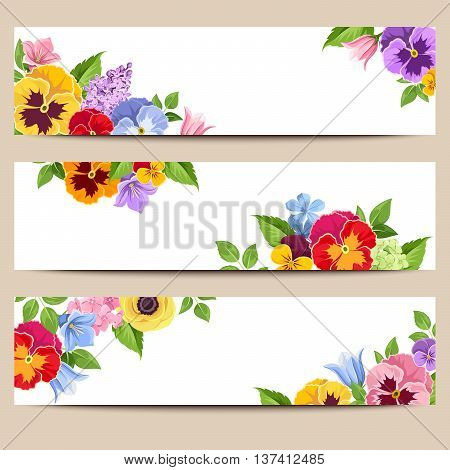 Set of three vector web banners with colorful pansies, harebell and lilac flowers.