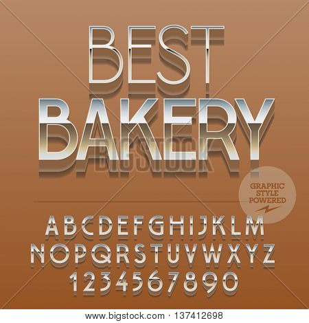 Set of slim reflective alphabet letters, numbers and punctuation symbols. Vector glossy label with text Best bakery. File contains graphic styles