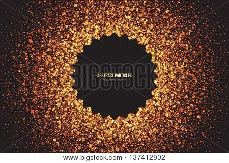 Abstract bright golden shimmer glowing round particles vector background. Scatter shine tinsel light explosion effect. Burning sparks. Celebration holidays and party illustration