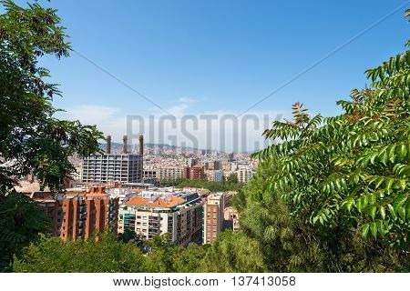 Barcelona cityscape seen from the hill of Montjuic. Catalonia Spain