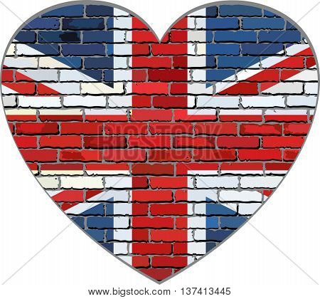 Great Britain flag on a brick wall in heart shape - Illustration, Flag of United Kingdom in brick style,  Abstract grunge United Kingdom flag