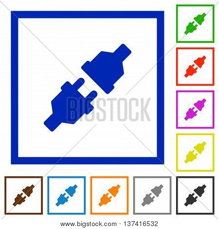 Set of color square framed Power connectors flat icons
