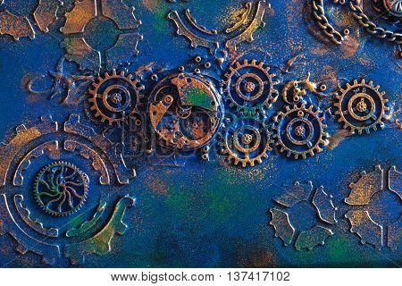 handmade steampunk background mechanical cogs wheels clockwork