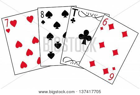 Cards for play of the different colors on white background is insulated