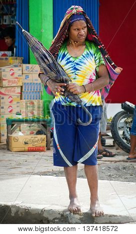 Papua Woman On The Market In Wamena