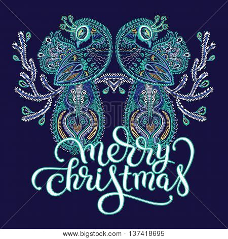 winter blue violet ethnic folk art of peacock bird with flowering branch design and lettering inscription merry christmas, vector dot painting illustration