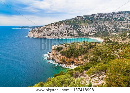 Panorama of seascape waves and coast line in Thassos Island, Greece