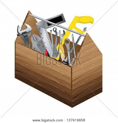 Tool box with object tool on white background. Wooden tool box and screwdriver with wrench.