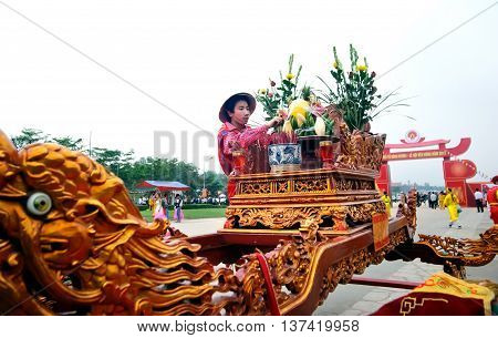 PHU THO, Vietnam, March 10, 2016 the man, edit offerings, in the temple of King Hung, Phu Tho Province, Vietnam