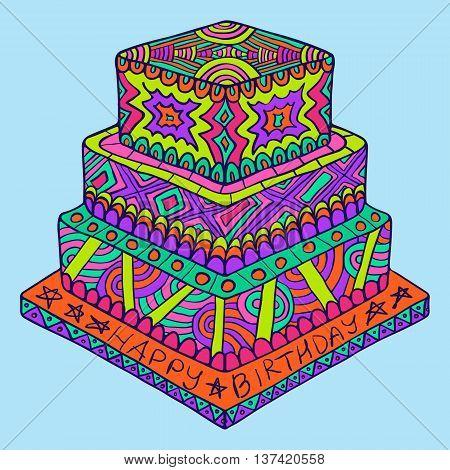 Happy Birthday Zentangle Cake Doodle Bright
