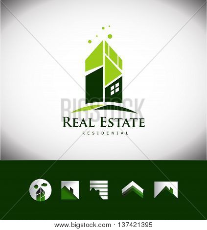 Vector company logo icon element template abstract real estate building skyscraper house roof property residential