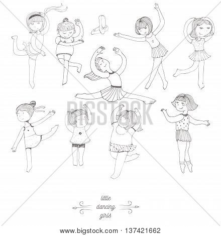 Set of dancing young girls isolated on white fun kind in dance studio. Kids in different dynamic poses with raised hands and legs. Characters in different age complexion. Black and white image.