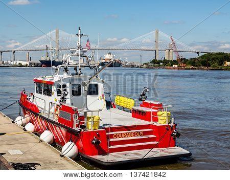 A Fire Boat Near the Savannah Bridge