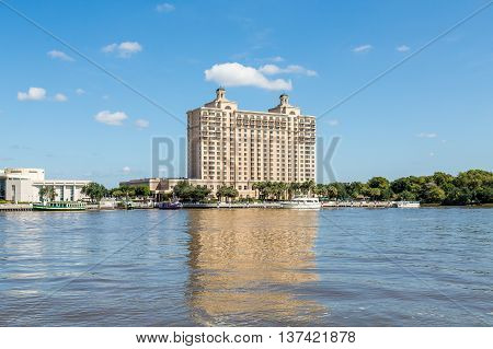 Modern hotel and conference center on the riverfront in Savannah Georgia