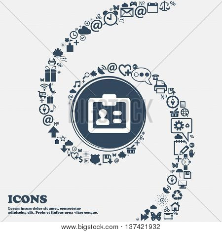Id, Identity Card Icon Sign In The Center. Around The Many Beautiful Symbols Twisted In A Spiral. Yo
