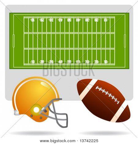 US-amerikanischer American-Football-Feld, Ball und Helm-Vektor