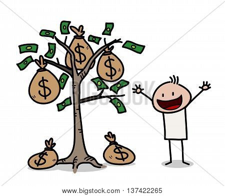 Money Tree Business Stick Figure Doodle, a hand drawn vector illustration of a businessman and a money tree.