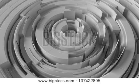 3d rendering abstract background made of arcs randomly rotated with different height