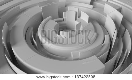 abstract 3d rendering background made of arcs randomly rotated with different height