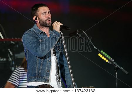 HOLLYWOOD, CA-OCT 24: Adam Levine of Maroon 5 performs onstage during CBS RADIOs third annual We Can Survive, presented by Chrysler, at the Hollywood Bowl on October 24, 2015 in Hollywood, California.