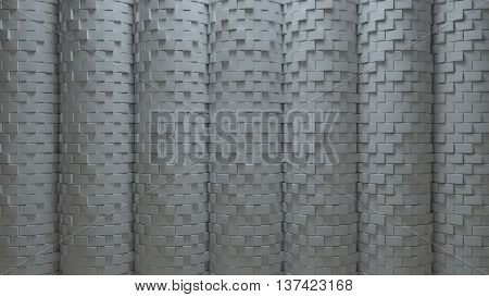 3d generated abstract background rendered surface with brick displacement facture