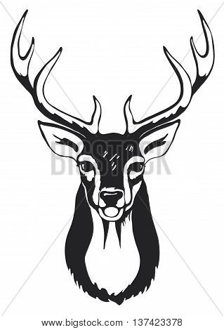 Black silhouette of deer head with antler.