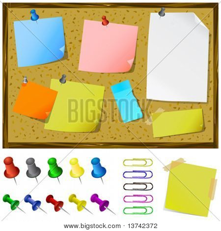 notice board with post-it vector
