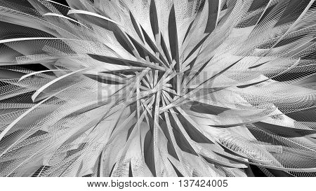 abstract background with rotated plane elements 3d rendering deformation flower look