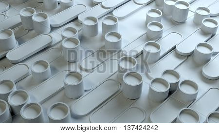 abstract 3d rendering background made of oblong geometry