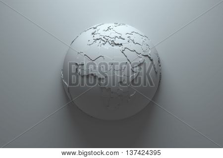 monochrome abstract 3d rendering background with earth globe continets are with countries randomly extruded