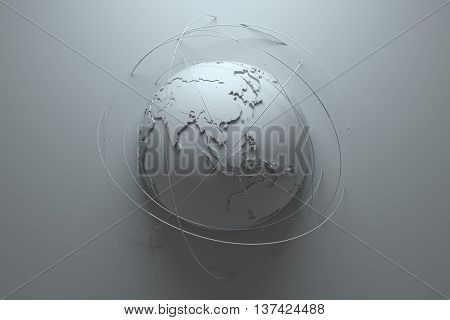 monochrome 3d rendering abstract background with earth globe continets are with countries randomly extruded arcs around symbolize connection and technology among us