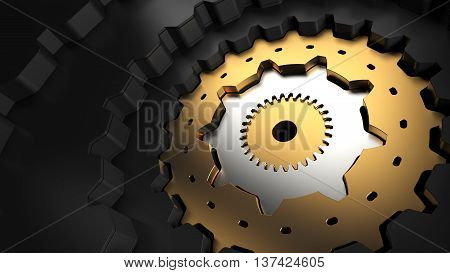 3d rendering mechanism structure made of different gears different height and teeth number one inside another. asbtract mechanical background.