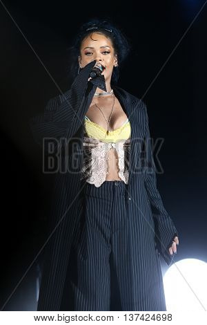 HOLLYWOOD, CA-OCT 24: Recording artist Rihanna performs onstage during CBS RADIOs third annual We Can Survive, presented by Chrysler at the Hollywood Bowl on October 24, 2015 in Hollywood, California.