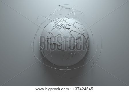 monochrome abstract 3d rendering background with earth globe continets are with countries randomly extruded arcs around symbolize connection and technology among us