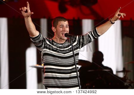 HOLLYWOOD, CA-OCT 24: Recording artist Nick Jonas performs during CBS RADIOs third annual We Can Survive, presented by Chrysler, at the Hollywood Bowl on October 24, 2015 in Hollywood, California.