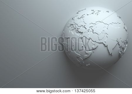 3d rendering monochrome abstract background with earth globe continets are with countries randomly extruded