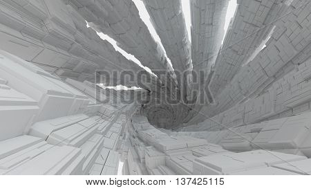Abstract 3d rendering greeble surface made of cubes